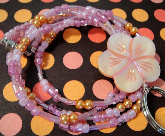 Mermaid Dream: Pink Shell and Glass Beaded Lanyard - ID Badge Holder / Glasses Holder