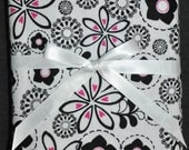 Extra Large Receiving/Swaddle Blanket - Black, White & Pink FLORAL 40 x 40 inches