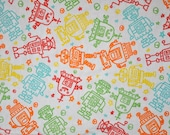 ROBOTS Flannel Fabric- BTY
