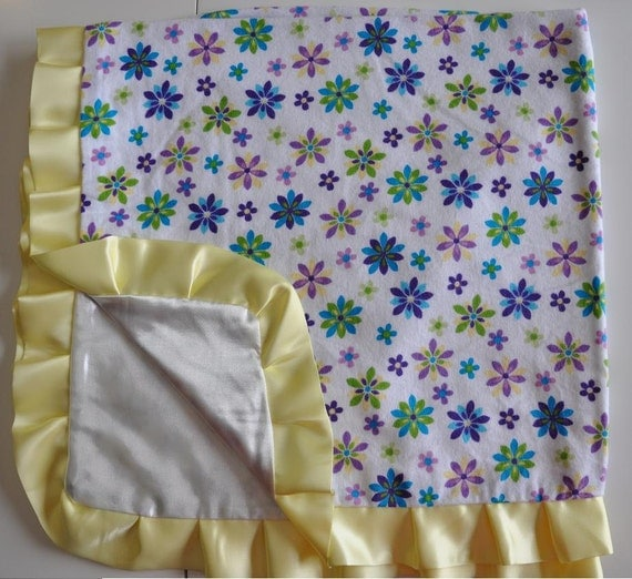 Ruffled Flannel Silky Blanket- Yellow SPRING FLOWERS 30 x 30 inches