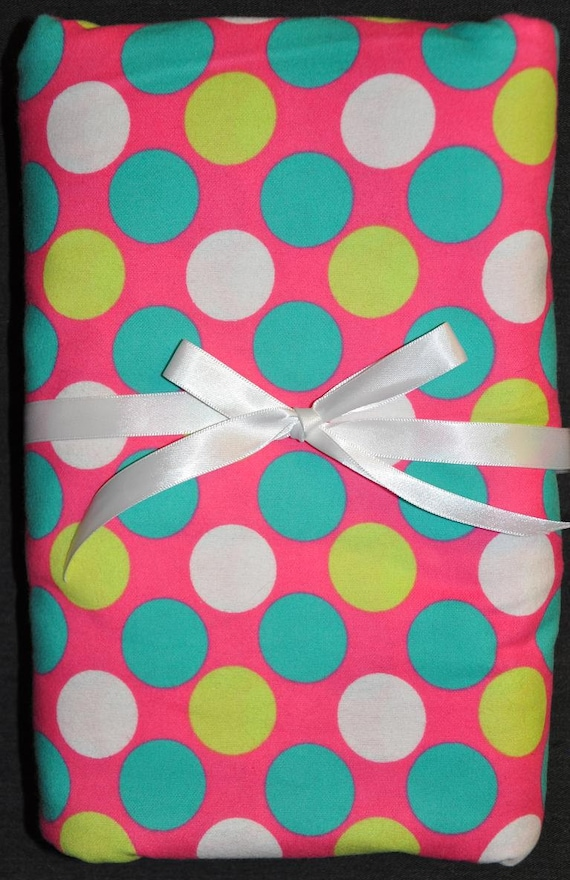 Extra Large Receiving/Swaddle Blanket- Pink with Large Green, White & Teal POLKA DOTS 40 x 40 inches
