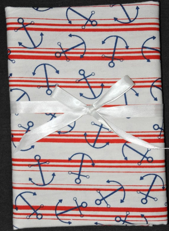 Extra Large Receiving/Swaddle Blanket- Nautical ANCHORS Theme 40 x 40 inches