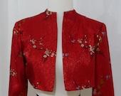 Jacket - 50's, Red Silk Swing Bolero.
