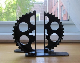 Pair of Black Gear-half Bookends