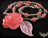 Apache Rose- Rose quartz and aventurine stone necklace