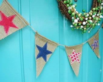 Fourth of July Burlap Pennant/Banner/Bunting