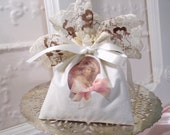 French Lavender Sachet Pouch Handmade from  Cream Muslin with young girl Transfer Matches Tags and Oval Frame in other Listings