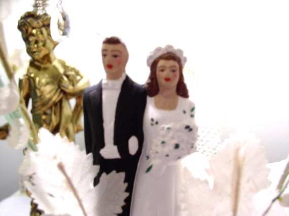 VintageWedding Cake Topper 50's or 60's Plaster or Bisque Price REDUCED