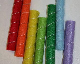 Felt Rainbow Wafer Stick - Set of 7