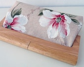 Reserved for Karen - Wooden frame clutch in floral canvas