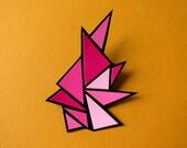 Sale Item - Crystalline Amaranth geometric papercut brooch