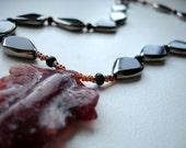RESERVED Necklace Brown Leaf Rodonita Black Glass