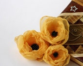 3 Pastel Yellow Peony Flowers  and 3 Green Brown Flowers Hand Made Organza Fabric