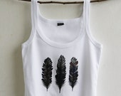 Feather Design Hand Painted White Cotton Top size S