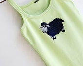 Sheep Design Hand Painted Light Green Cotton Top size M