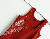 Fire brick Hand Painted Tank Butterfly Flowers Swarovski crystals