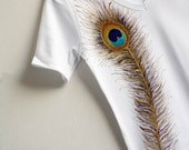 Hand Painted White Women Tshirt peacock Feather Design Size L