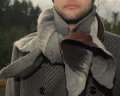 Felted shawl Men shawl Women shawl Grey brown beige tan Merino wool 100% wool Handmade Gift for him