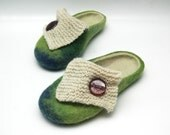 Green hand felted slippers with knitwear decoration READY to ship Size 6