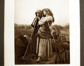"""French Jules BRETON Engraving Walters Gallery """"The Close of Day"""""""