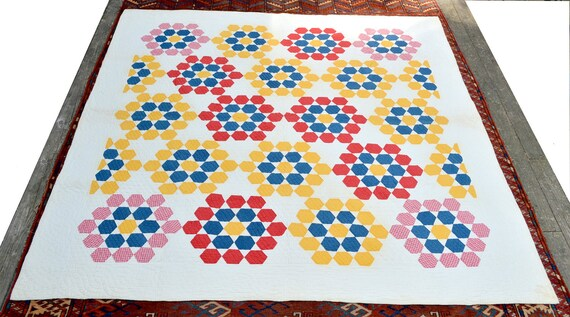 Antique Tennessee QUILT Hexagon, Star, Grandmother's Flower Garden, Honeycomb