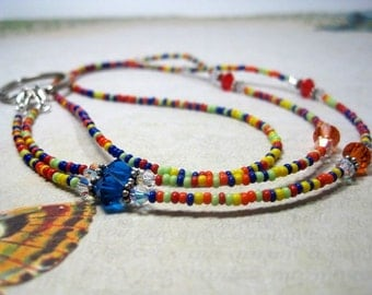 Beaded Lanyard ID or Badge Holder, Eyeglass, Spectacle Chain, Bright Colors Red,Blue, Available with Breakaway