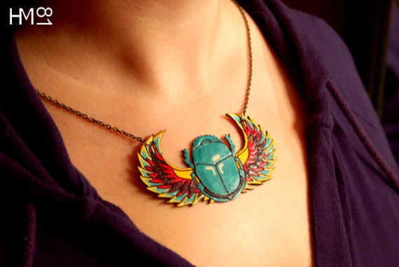Egyptian Scarab Leather Necklace