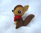 Little felt squirrel with red bow