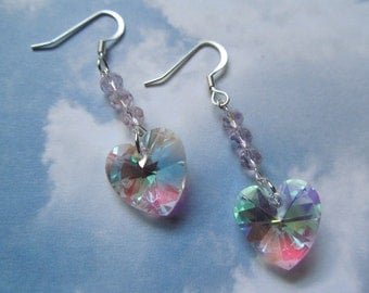 Valentines Crystal Heart Drop Earrings