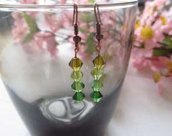 Multi-Green Crystal Dangle Earrings