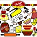 Vintage Baking Digital Clip Art, INSTANT DOWNLOAD, Colors Red, Yellow, Orange, and Brown. Cute, retro 50's kitchen clipart, clip art.