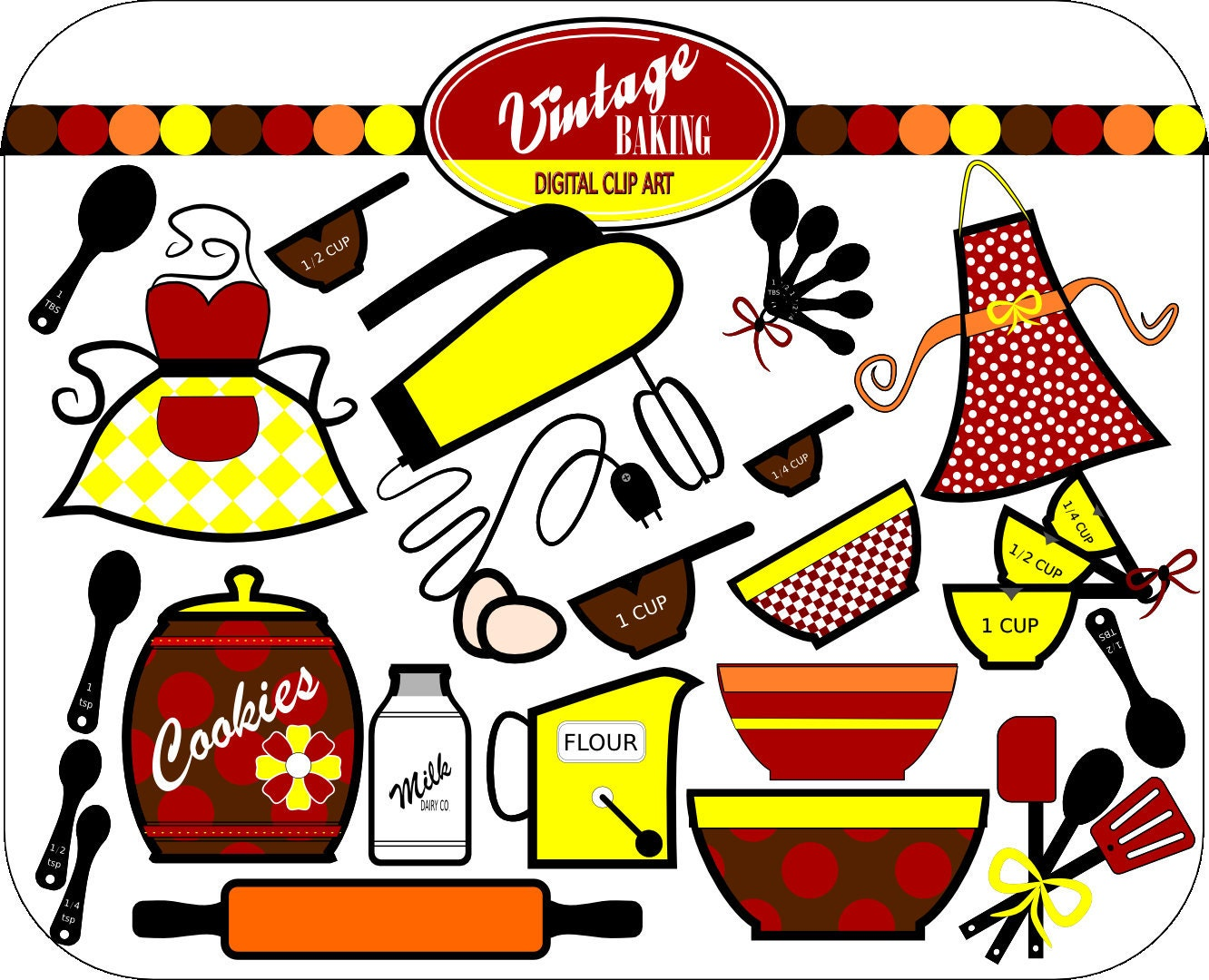 Vintage Baking Digital Clip Art, INSTANT DOWNLOAD, Colors ...
