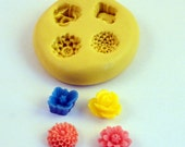 FLOWERS Mold - Flexible Silicone Small Victorian Vintage Cabochon