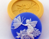FAIRY Cameo Mold Flexible Silicone Kawaii Decoden Flatback Flat Back Mould Charm Butterfly 28 mm