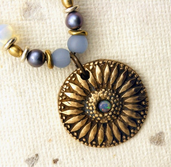 Sunflower Pendant - Handcrafted Bronze Sunflower Pendant with Opal on Beaded Chain Necklace