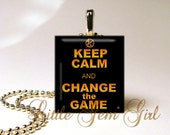 The Hunger Games  - KEEP CALM and Change the Game - Scrabble Tile Necklace Pendant (ball chain sold separately)