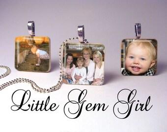CUSTOM Photo Necklace Picture Pendant Custom Personalized Picture Jewelry Wood Tile for Mom Grandma Mimi Aunt Nana - Custom Photo Jewelry