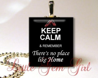 Wizard of Oz Jewelry - KEEP CALM There's No Place Like Home - Dorothy Red Slippers Yellow Brick Road Scrabble Necklace Pendant