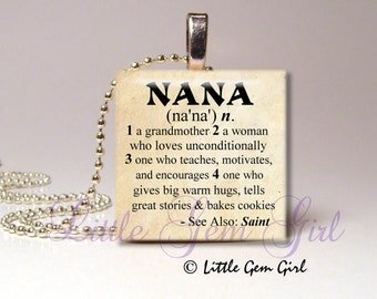 """Nana Necklace Pendant Dictionary Definition - Antique Paper or White on Black 1""""x1""""  Wood Tile Necklace Pendant - Mothers Day Nana Jewelry"""