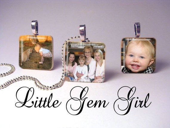SALE 4 Custom Photo Necklaces Picture Jewelry 1 inch x 1 inch Wood Tile - Custom Picture Charms - Mothers Day Mom Mimi Nana Bridesmaid Gift