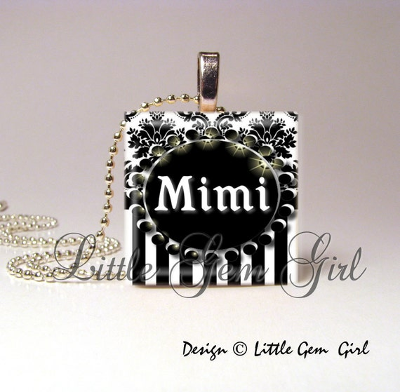 Mimi Necklace Pendant Elegant Black and White Striped Damask1 inch Wood Tile - Mimi Jewelry Mom Mothers Day Necklace Charm