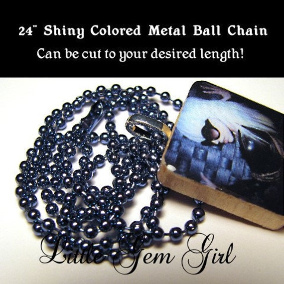 STEEL BLUE 24 inch Ball Chain Necklace 2.4mm size for Scrabble Tile & and 1 inch x 1 inch Necklace Tile Pendants
