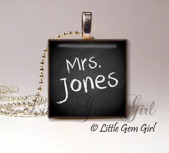 CUSTOM Teacher Name on Black Chalkboard Style - 1 inch Wood Tile - Teacher Necklace Pendant - Teacher Charm Personalized Name Jewelry