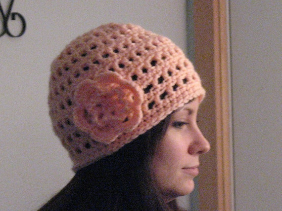 Women's Teens Crocheted Hat In a Peach Color With Flower Attached