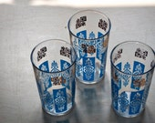 SALE - Set of 3 Blue and Gold Glasses Pattern