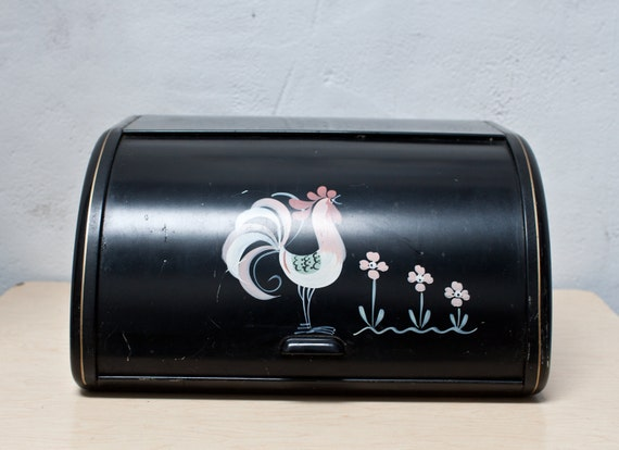Black Rooster Bread Box