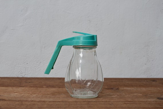 SALE - Light Blue Syrup Jar Container
