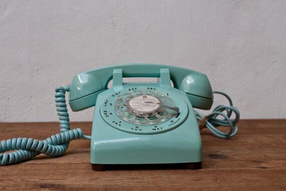 Mint Green 1960s Rotary Telephone Phone