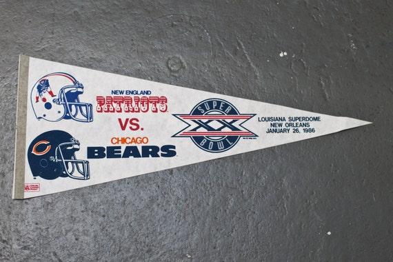 1986 Super Bowl XX Patiots Bears  Pennant