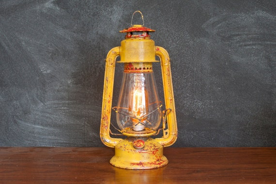 Dietz No.20 Junior Electric Lantern Lamp Plugin Yellow Red - Handmade